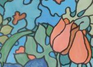 """Пленка с/к """"GEKKOFIX"""" арт.13328 (тюльпаны) цветной витраж 67,5х8м"""