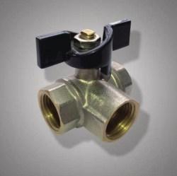 Кран шаровый трёхходовой ручка латун.никел.FR 217 1/2F*1/2F*1/2F (уп.15шт.) ФРАП
