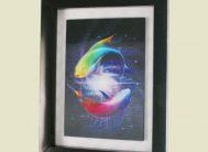 Стикер 7309 Рыбки Декоративная рамка 3D