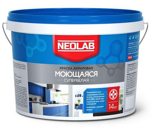 Акриловая супербелая краска МОЮЩАЯСЯ ВД-АК-1180 3 кг (уп.4 шт.) NEOLAB