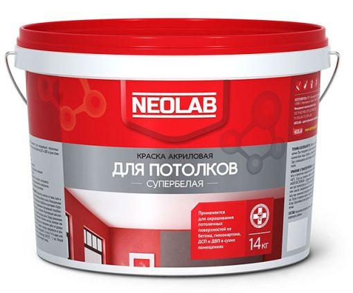 Акриловая супербелая краска ДЛЯ ПОТОЛКОВ ВД-АК-2180 6 кг (уп.1 шт.) NEOLAB
