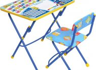Комплект КУ1/12 (стол+стул мягк.)дет.скл.Первоклашка син.фон Ника