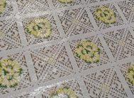 Клеенка ажурная Лейс 023A (бел.ажур/желтый подсолнух) 1.32х22м